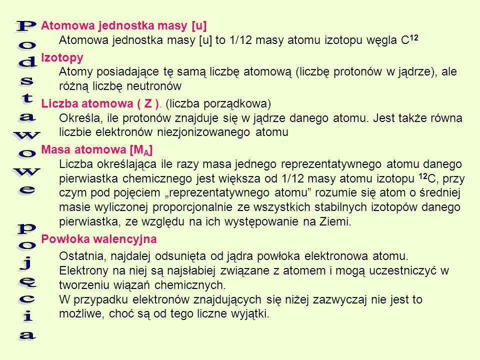 Atomowa jednostka masy [u] Atomowa jednostka masy [u] to 1/12 masy atomu izotopu węgla C12